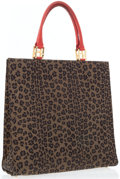 Luxury Accessories:Bags, Fendi Leopard Print Canvas Tote Bag with Red Leather Accents. ...