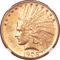 Indian Eagles, 1908-D $10 Motto MS62+ NGC....