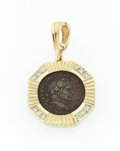Estate Jewelry:Pendants and Lockets, Ancient Coin, Diamond, Gold Pendant-Enhancer. ...