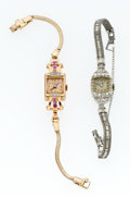Timepieces:Wristwatch, Crawford Platinum & Diamonds & Fremes 14k Gold & Ruby Wristwatches. ... (Total: 2 Items)