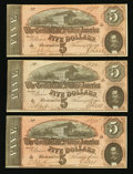 Confederate Notes:1864 Issues, T69 $5 1864 PF-10 Cr. 564 Three Consecutive Examples.. ... (Total: 3 notes)