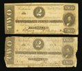 Confederate Notes:1864 Issues, T70 $2 1864 PF-1 Cr. 569. T70 $2 1864 PF-3 Cr. 570.. ... (Total: 2 notes)