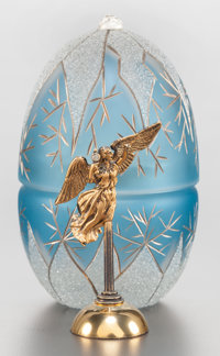 A SARAH FABERGÉ GLASS AND SILVER MOUNTED NEVA EGG - THE ANGEL OF THE RIVER IN ORIGINAL BOX</