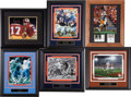 Football Collectibles:Photos, Football Greats Signed Framed Displays Lot of 6....