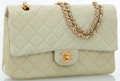 Luxury Accessories:Bags, Chanel Beige Lambskin Quilted Leather Classic Medium Double FlapBag with Gold Hardware. ...