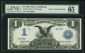 Large Size:Silver Certificates, Low Serial Number A100A Fr. 230 $1 1899 Silver Certificate PMG Gem Uncirculated 65.. ...