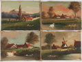 """Miscellaneous:Ephemera, Four Original Paintings. Acrylic on canvas. Each painting measuresapproximately 7.5"""" x 5.25"""" and features houses in a rural...(Total: 4 Items)"""