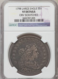 Early Dollars: , 1798 $1 Large Eagle, Pointed 9 -- Obverse Scratched -- NGC Details.VF. NGC Census: (85/1069). PCGS Population (167/1197). ...