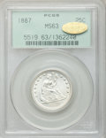 Seated Quarters, 1887 25C MS63 PCGS. Gold CAC....