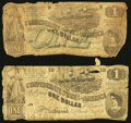 Confederate Notes:1862 Issues, T44 $1 1862 PF-1 Cr. 339. T45 $1 1862 PF-2 Cr. 342.. ... (Total: 2notes)