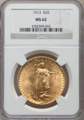 Saint-Gaudens Double Eagles: , 1913 $20 MS62 NGC. NGC Census: (1015/473). PCGS Population(872/1049). Mintage: 168,700. Numismedia Wsl. Price for problem ...