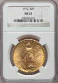 Saint-Gaudens Double Eagles: , 1912 $20 MS62 NGC. NGC Census: (926/548). PCGS Population(1054/1558). Mintage: 149,700. Numismedia Wsl. Price for problem...
