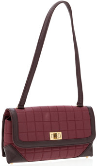 Chanel Red Canvas and Burgundy Leather Flap Bag
