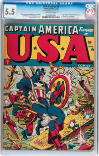 USA Comics #7 (Timely, 1943) CGC FN- 5.5 Off-white pages