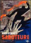 "Movie Posters:Hitchcock, Saboteur (Universal, 1957). First Post-War German A1 (23"" X 33"").Hitchcock.. ..."