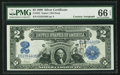 Large Size:Silver Certificates, Fr. 253 $2 1899 Silver Certificate Courtesy Autograph PMG Gem Uncirculated 66 EPQ.. ...