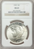 Peace Dollars: , 1925 $1 MS65 NGC. NGC Census: (10078/1798). PCGS Population(6956/1593). Mintage: 10,198,000. Numismedia Wsl. Price for pro...