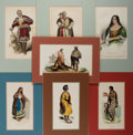 Books:Prints & Leaves, [Native American] Lot of Seven 19th Century Hand-ColoredIllustrations Featuring American Indians. Some prints heightenedwi...