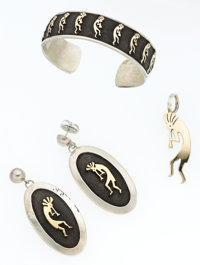 Sterling Silver, Gold Jewelry Suite, Zuni