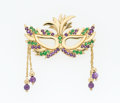 Estate Jewelry:Brooches - Pins, Diopside, Amethyst, Gold Mardi Gras Mask Brooch. ...