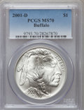 Modern Issues: , 2001-D $1 Buffalo Silver Dollar MS70 PCGS. PCGS Population (823).NGC Census: (1700). Numismedia Wsl. Price for problem fr...