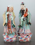 Asian:Chinese, A PAIR OF CHINESE PORCELAIN LOHAN FIGURES. 20th century. Marks:(chop marks). 20 inches high (50.8 cm) (taller). ... (Total: 2Items)