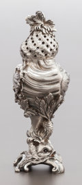 Silver Holloware, Continental:Holloware, A FRENCH SILVER FIGURAL SUGAR CASTER . 20th century. Marks:(Minerva). 5-3/8 inches high (13.7 cm). 7.80 troy ounces. From...