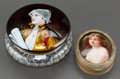 Decorative Arts, French:Other , A FRENCH ENAMEL AND GLASS PORTRAIT POWDER BOX WITH A PAINTEDPORCELAIN PORTRAIT AND GILT BRONZE JEWEL BOX. Early 20th centur...(Total: 2 Items)
