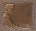 Bronze:European, FIVE CONTINENTAL FRAMED BRONZE RELIEF PLAQUES. 20th century. 2-5/8inches high x 3-3/4 inches wide (6.7 x 9.5 cm) (lady play...(Total: 5 Items)