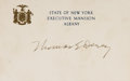 "Autographs:Statesmen, New York Governor Thomas E. Dewey Card Signed. Dewey (1902-1971)has signed this 5"" x 3.5"" ""State of New York / Executive..."