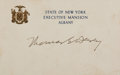 "Autographs:Statesmen, New York Governor Thomas E. Dewey Card Signed. Dewey (1902-1971)has placed his bold signature to this 5"" x 3.5"" ""State of..."