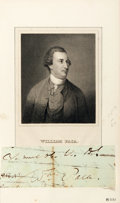 "Autographs:Statesmen, [Declaration Signer]. William Paca Clipped Signature. 5"" x 1.75"".Signed ""Wm Paca."" Paca (1740-1799) was a delegate to the C..."