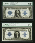 Fr. 237 $1 1923 Silver Certificate PMG Choice Uncirculated 64 EPQ Fr. 238 $1 1923 Silver Certificate PMG Choice Uncircul...