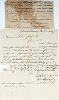 """Miscellaneous:Ephemera, [Harvard Lottery]. William Holroyd Autograph Letter Signed. Onepage, 6.5"""" x 8"""", Providence [Rhode Island], January 1, 1807,...(Total: 2 Items)"""