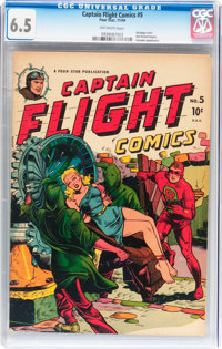 Captain Flight Comics #5 (Four Star, 1944) CGC FN+ 6.5 Off-white pages