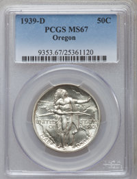 1939-D 50C Oregon MS67 PCGS. PCGS Population (153/18). NGC Census: (166/11). Mintage: 3,004. Numismedia Wsl. Price for p...
