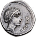 Ancients:Roman Republic, Ancients: Q. Caepio Brutus (formerly M. Junius Brutus) as Imperator (42 BC). AR denarius (19mm, 3.93 gm, 8h)....