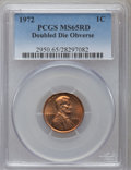Lincoln Cents: , 1972 1C Doubled Die Obverse MS65 Red PCGS. PCGS Population(1263/535). NGC Census: (586/183). Mintage: 75,000. Numismedia W...