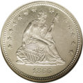 Seated Quarters: , 1866 25C Motto MS66 NGC. The 1866 is rare in all grades; indeed,fewer than 70 pieces have been certified by NGC and PCGS c...
