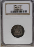 Seated Quarters: , 1878-CC 25C MS63 NGC. Deep pumpkin-orange, navy-blue, and mauve-redtoning embrace this Carson City quarter. Liberty's high...