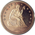 Proof Seated Quarters: , 1881 25C PR66 Cameo PCGS. Approximately 470 1881 proofs (out of amintage of 975 pieces) have been certified by PCGS and NG...