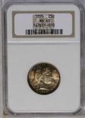 Barber Quarters: , 1895 25C MS65 NGC. The obverse has an orange-gold field and amostly untoned portrait. Dashes of navy-blue cling to the rim...
