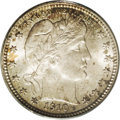 Barber Quarters: , 1910 25C MS67 PCGS. A lovely, totally original coin offering tingesof carmine, gold, lime-green, and electric-blue in an i...