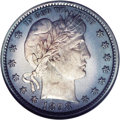 Proof Barber Quarters: , 1898 25C PR65 Cameo NGC. The light centers are coated with soft, lilac-gray patina that deepens to gunmetal-blue shades at ...
