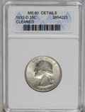 Washington Quarters: , 1932-D 25C --Cleaned--ANACS. MS60 Details. A lightly hairlined keydate quarter with medium cream-gray toning and pleasing c...