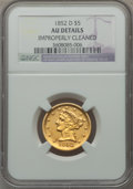 1852-D $5 -- Improperly Cleaned -- NGC Details. AU. Variety 32-V (formerly 27-S)....(PCGS# 8252)