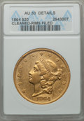 Liberty Double Eagles, 1864 $20 -- Cleaned, Rim Filed -- ANACS. AU50 Details....