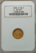 Liberty Quarter Eagles, 1850-C $2 1/2 XF40 NGC. Variety 2....