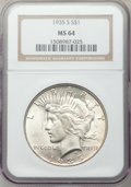 Peace Dollars: , 1935-S $1 MS64 NGC. NGC Census: (884/482). PCGS Population(1406/776). Mintage: 1,964,000. Numismedia Wsl. Price for proble...