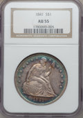 Seated Dollars: , 1841 $1 AU55 NGC. NGC Census: (34/92). PCGS Population (36/80).Mintage: 173,000. Numismedia Wsl. Price for problem free NG...